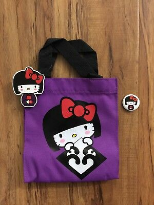 Exclusive JANM Hello Kitty Kokeshi Purple Mini Tote NWT Loungefly with Button