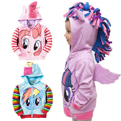Kids Girls Baby Hoodie My Little Pony Wing Sweatshirt Coat Zip Jacket Clothes