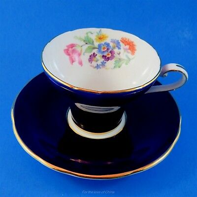 Cobalt Blue Corset Shaped and Floral Design Aynsley Tea Cup and Saucer Set