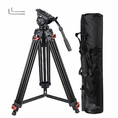 "71"" Professional DV Video Camera Aluminum Adjustable Tripod Stand Fluid Pan Head"