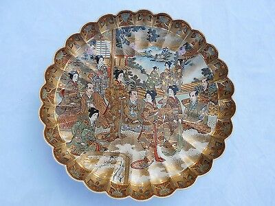 Antique Japanese Satsuma Charger Plate Dish Painted Binjin Gold 1890-1900