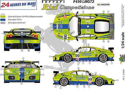 Decals 1//32 Ferrari F-458 Challenge 2012 de Guy Leclerc FFSMC Productions