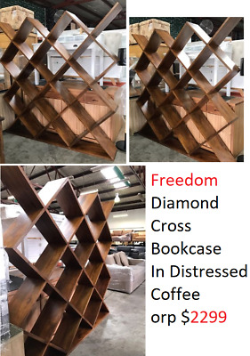 Freedom Diamond Cross Bookcase In Distressed Coffee $2299