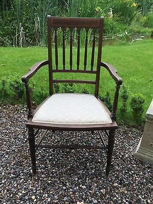 Antique Edwardian Inlaid Mahogany Open Armchair