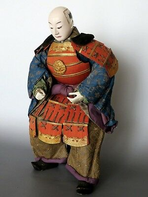 Antique Edo Meiji Era 1800s Japanese Samurai Warrior Armour Doll with Stool 16.5