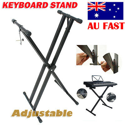 Foldable Music Piano Double Braced X Style Keyboard Stand Adjustable Height AU