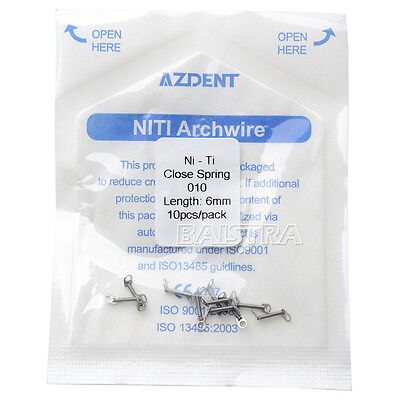 """10Pcs/Pack Dental Orthodontic Niti Closed Coil Spring Constant Force 0.010""""*6mm"""