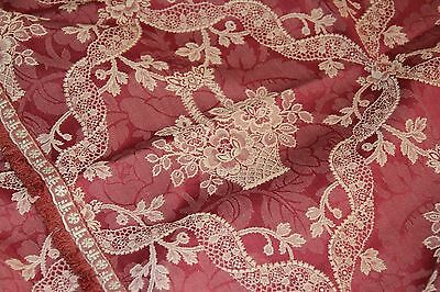 EXQUISITE Vintage French Chateau 19th C Antique Double Bedspread Brocade Panel