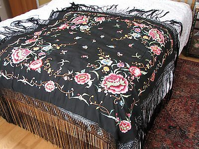Vintage Large Black Embroidered Flowers Piano Shawl Long Silk Tassels