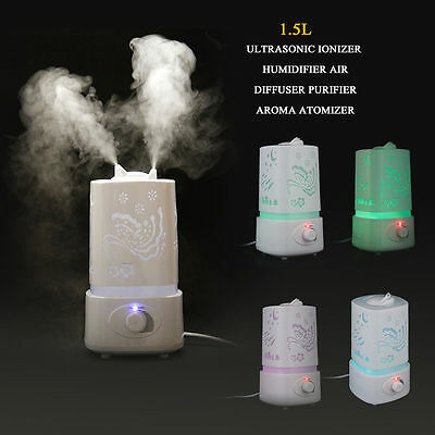 Led 1.5L Ultrasonic Air Humidifier Purifier Aroma Diffuser Oil Spa Aromatherapy