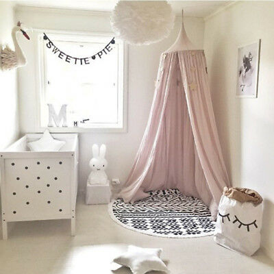 Children Bed Canopy Round Dome Mosquito Net Hanging Curtain Baby Kid Bedroom YH