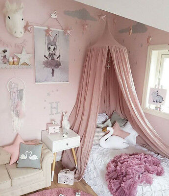 Children Bed Canopy Round Dome Mosquito Net Hanging Curtain Kid Bedroom PINK