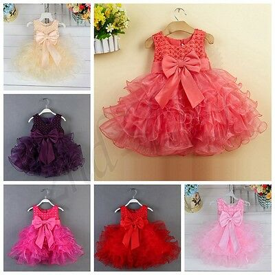 Flower Girl Baby Kids Pageant Princess Bow Party Evening Tutu Wedding Dress Gown