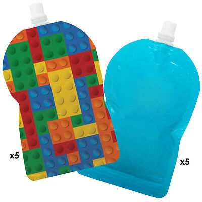 My Lil Pouch! 140ml Brick and Blue Top Spout Reusable Food Pouch - 10 pack