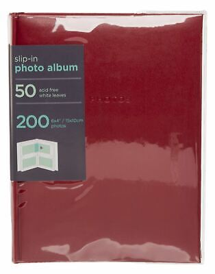 "WHSmith Red 6x4 Photo Album 50 White Slip-in Leaves Holds 200 6x4"" Photos"