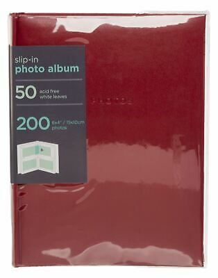 "WHSmith Red Photo Album 50 Case Bound White Slip-in Leaves Holds 200 6x4"" Photos"