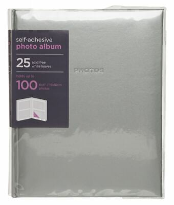 WHSmith Medium Silver Photo Album 25 White Self Adhesive Leaves Case Bound