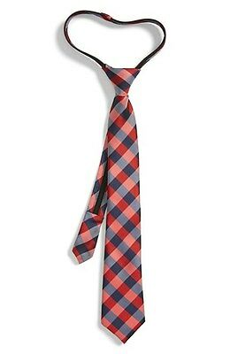 Nordstrom Boy's Red Buffalo Plaid Silk Zipper Tie 4228 One Size