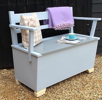 Vintage 1940's / 50's Painted Settle Bench With Blanket Box