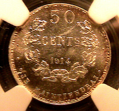 LUXEMBOURG 1914 Silver 50 Centimes Coin NGC MS-63 ESSAI PATTERN Marie Adelaide