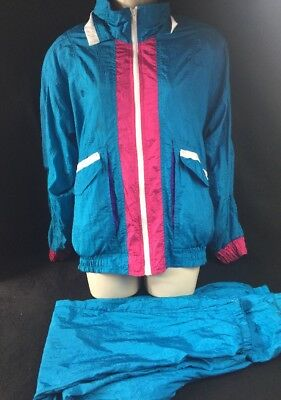 VTG Med Women's GF Sport WINDBREAKER TRACK JACKET Pants NYLON Retro Fresh Prince