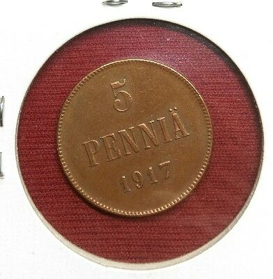 Russia Finland 5 Pennia, 1917, World Coin