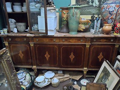 lg antique 1900's inlayed french empire  3 pc marble top sideboard over 8' wide