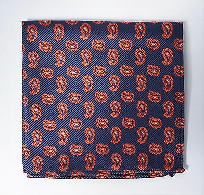 Hankie Pocket Square Handkerchief Navy Blue & Metallic Orange Paisley
