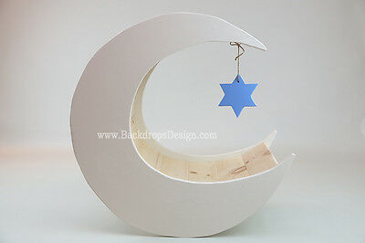 Star of David Moon Prop Newborn Photography Moon Baby Prop  and Star Photo Prop