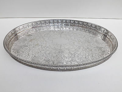 "Vintage Silver Plated Oval Galleried Tray 15"" Length"