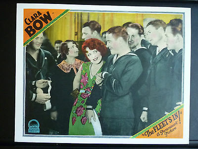 1928 The Fleet's In - Clara Bow + Sailors Lobby Card - Silent Comedy - Beautiful