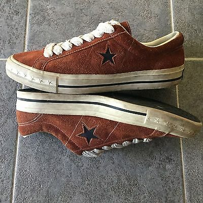 Vintage 1990s Converse One Star shoes / black label / suede / US Mens 11 / brown