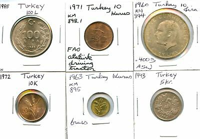 Lot of 6 1943 - 1985 Turkey Assorted Coins #110406 X R