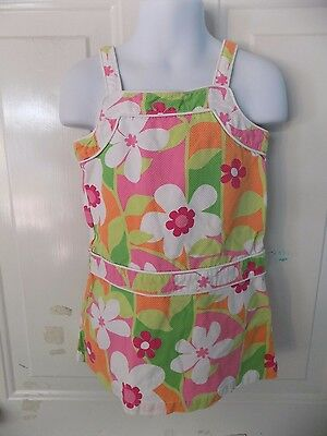 Gymboree Flower Print Sleeveless Dress Size 4 Girl's EUC