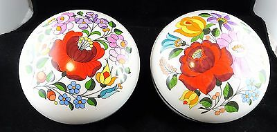 Pair of Kalocsa Hungary Hand Painted Lidded Dishes Vivid Floral