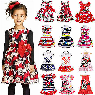 Minnie Mouse Girls Bow Dress Baby Kid Toddler Summer Party Disney Swing Cartoon