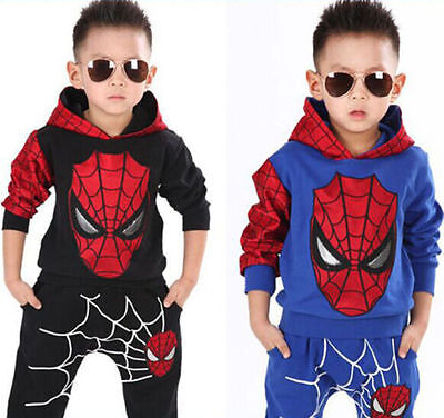 Top + Pant Set Kids Clothes Outfits 2PCS Baby Boys Long Sleeve Spiderman Hoodies