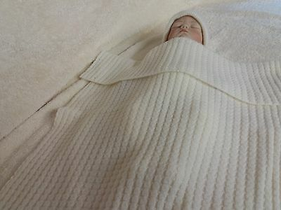 Made in Scotland, A Beautiful  Snow White100%  Pure Cashmere   Baby Blanket,