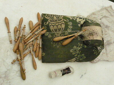 Antique French Bobbin Lace Maker's Cushion / Pillow & 21 Wooden Lace Bobbins