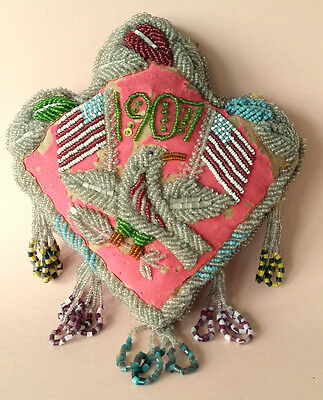 Native American BEADED PINCUSHION 1907 Patriotic EAGLE Olive Branch & Flags