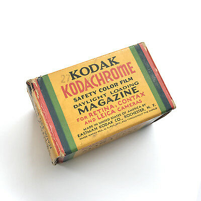 Rare Vtg Kodak Kodachrome 35Mm / 36Mm Film Magazine Roll Sealed Box Exp Aug 1939