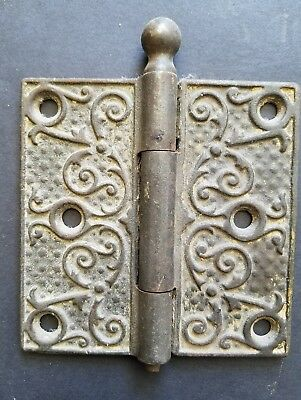 Victorian Door Hinge 3.5 x 3.5 Ball Finial Ornate Cast Iron