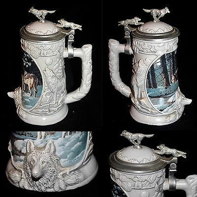 Limited Edition Porcelain Wolf Stein W/figural Pewter Lid Titled Moonlight Trail