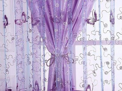 Butterfly Embroidery Tulle Voile Room Window Curtains Drape Sheer Valances New