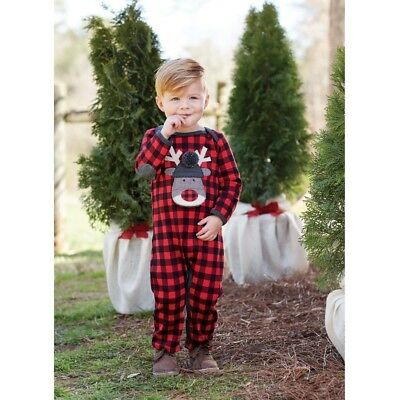 Mud Pie H7 Christmas Boy Baby Buffalo Check OpenMouth Reindeer One-Piece 1032363