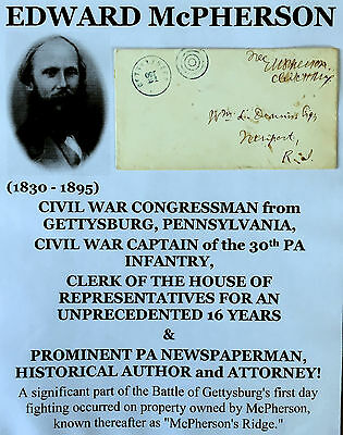 CIVIL WAR GETTYSBURG PA CONGRESSMAN 30th PA CAPT SIGNED FREE FRANK LETTER COVER!