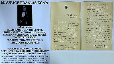President T Roosevelt Friend Us Ambassador Denmark Virgin Islands Letter Signed!