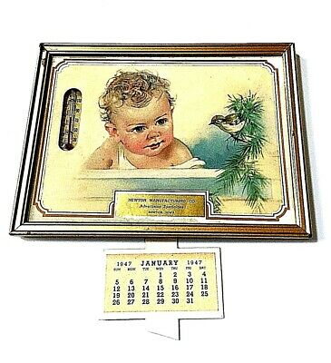 """Newton Manufacturing"" Advertising Baby Thermometer 1947 Calendar Newton Ohio"