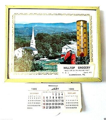 """Hilltop Grocery"" Advertising Thermometer 1969 Calendar Hummelstown, Pa"