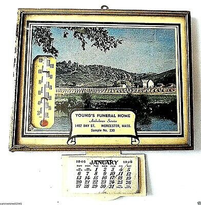 """Young's Funeral Home"" Advertising Thermometer w/1946 Calendar Worcester, Mass"